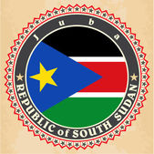 Vintage label cards of  South Sudan flag.  — Stock Vector