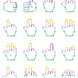 Set of unusual pixelated hand icons. — Stock Vector #49285191