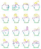 Set of unusual pixelated hand icons.  — Stock Vector