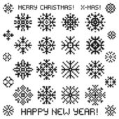 Christmas vector snowflakes designs in pixel style.  — Stock Vector