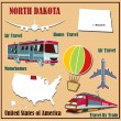 Flat map of North Dakota in the U.S. for air travel by car and train. — Stock Vector #50841687