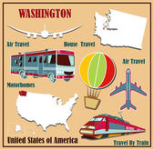 Flat map of  Washington in the U.S. for air travel by car and train. — Stock Vector