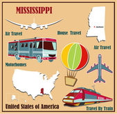 Flat map of  Mississippi in the U.S. for air travel by car and train. — Stock Vector