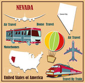 Flat map of Nevada in the U.S. for air travel by car and train.  — Stock Vector