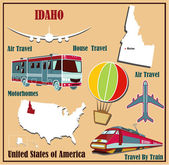 Flat map of Idaho in the U.S. for air travel by car and train.  — Stock Vector