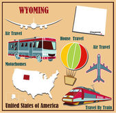 Flat map of Wyoming in the U.S. for air travel by car and train.  — Stock Vector