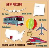 Flat map of New Mexico in the U.S. for air travel by car and train. — Stock Vector