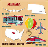 Flat map of Nebraska in the U.S. for air travel by car and train.  — Stock Vector