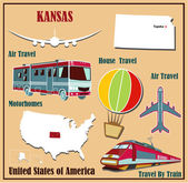 Flat map of Kansas in the U.S. for air travel by car and train.  — Stock Vector