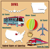 Flat map of Iowa in the U.S. for air travel by car and train.  — Vecteur