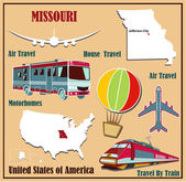 Flat map of Missouri in the U.S. for air travel by car and train.  — Stock Vector