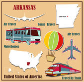 Flat map of Arkansas in the U.S. for air travel by car and train.  — Stock Vector