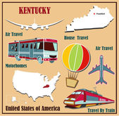 Flat map of Kentucky in the U.S. for air travel by car and train.  — Stock Vector