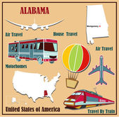 Flat map of Alabama in the U.S. for air travel by car and train.  — Stock Vector
