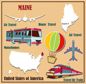 Flat map of Maine in the U.S. for air travel by car and train.  — Stock Vector