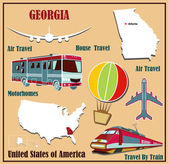 Flat map of Georgia in the U.S. for air travel by car and train. — Stock Vector