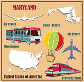 Flat map of Maryland in the U.S. for air travel by car and train.  — Stock Vector