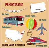 Flat map of Pennsylvania in the U.S. for air travel by car and train.  — Stock Vector