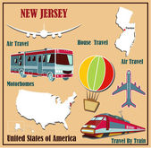 Flat map of New Jersey in the U.S. for air travel by car and train.  — Stock Vector