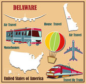 Flat map of Delaware in the U.S. for air travel by car and train.  — Stock Vector