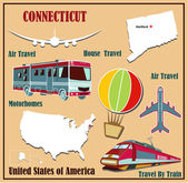 Flat map of Connecticut in the U.S. for air travel by car and train. — Stock Vector
