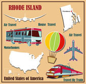 Flat map of Rhode Island in the U.S. for air travel by car and train.  — Stock Vector