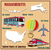 Flat map of Massachusetts in the U.S. for air travel by car and train.  — Stock Vector