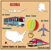 Flat map of Alaska in the U.S. for air travel by car and train.  — Stock Vector