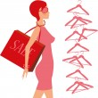 Fashion_shopping_girl — Vector de stock  #13421429