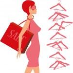 Fashion_shopping_girl — Stock Vector