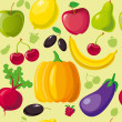 Fruits_vegetables_background — ベクター素材ストック