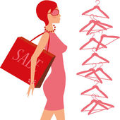 Fashion_shopping_girl — Stock Vector