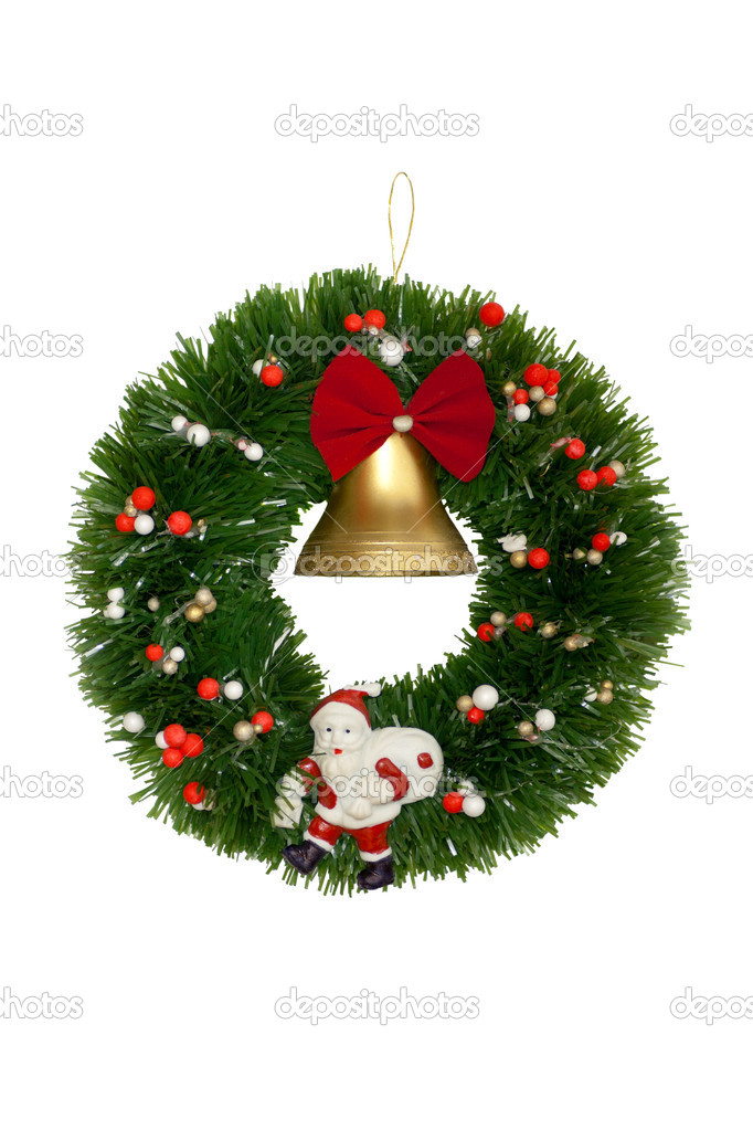 Christmas and New Year's wreath with bell. Isolated On White Background. — Stock Photo #14608183