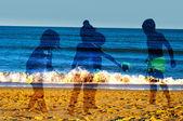 Children playing on beach — Stock Photo