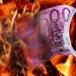 Stock Photo: Fire and money