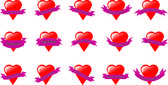 Glossy valentine hearts with banners — Stock Vector