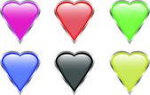 Glossy valentine hearts — Stock Vector