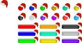 Web 按钮与圣诞老人帽子 — 图库矢量图片