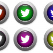 Stock Vector: Web buttons with social media logo