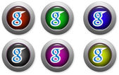 Web buttons with social media logo — 图库矢量图片