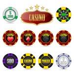 fichas de casino — Vector de stock