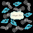 Seamless pattern with blue flip flops and white summer hat — Stock Vector