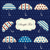 Background with american umbrellas and blue rain drops — Cтоковый вектор
