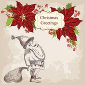 Christmas vector illustration with Santa — Stock Vector