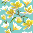 Floral seamless pattern with frangipani, hand-drawing. Vector il — Vector de stock