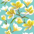 Floral seamless pattern with frangipani, hand-drawing. Vector il — 图库矢量图片