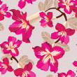 Floral seamless pattern with pink flowers, hand-drawing. Vector - ベクター素材ストック