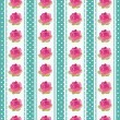 Seamless wallpaper pattern with flowers on blue background - ベクター素材ストック