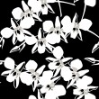 Seamless wallpaper pattern with orchid on black background - ベクター素材ストック