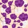 Floral seamless pattern with orchids — Stock Vector